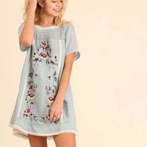 UMGEE Bohemian Embroidered Floral Tunic Dress